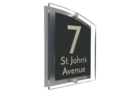 Arc Shape - Clear Acrylic House Sign - Anthracite Colour with Double Cream text in Font  3