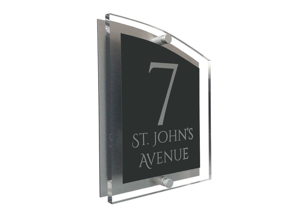 Arc Shape - Clear Acrylic House Sign - Anthracite Colour with Silver text in Font  1