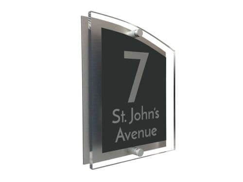 Arc Shape - Clear Acrylic House Sign - Anthracite Colour with Silver text in Font  3
