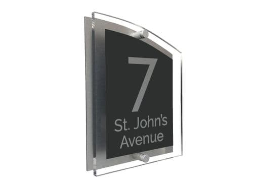 Arc Shape - Clear Acrylic House Sign - Anthracite Colour with Silver text in Font  4