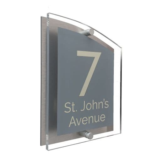 Arc Shape - Clear Acrylic House Sign - Mid Grey Colour with Double Cream text in Font  4