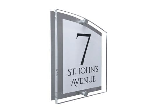 Arc Shape - Clear Acrylic House Sign - White Colour with Black text in Font  1