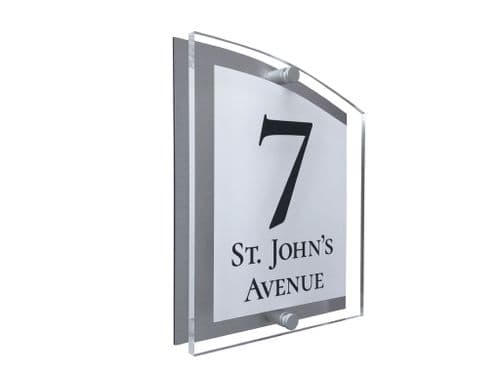 Arc Shape - Clear Acrylic House Sign - White Colour with Black text in Font  2