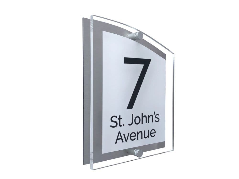Arc Shape - Clear Acrylic House Sign - White Colour with Black text in Font  4