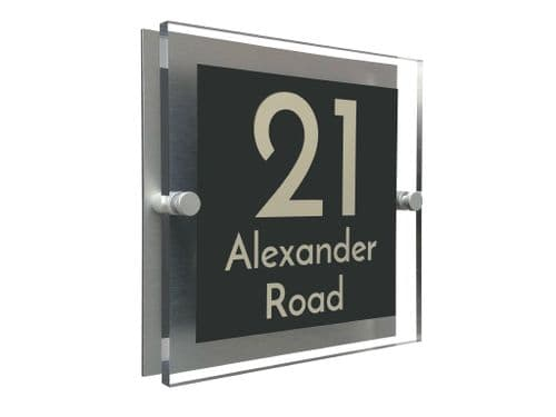 Block Shape - Clear Acrylic House Sign - Anthracite Colour with Double Cream text in Font  3