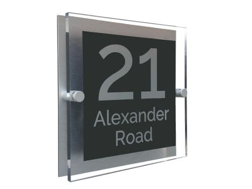 Block Shape - Clear Acrylic House Sign - Anthracite Colour with Silver text in Font  4