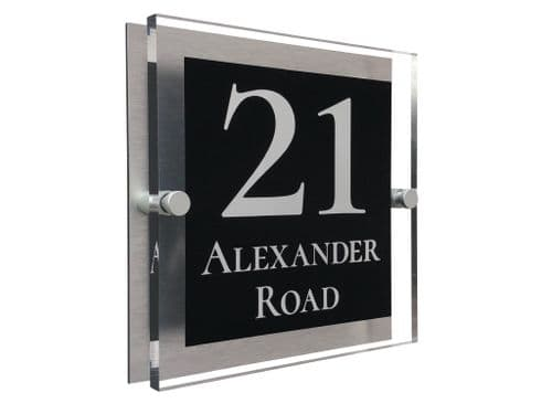 Block Shape - Clear Acrylic House Sign - Anthracite Colour with White text in Font  2