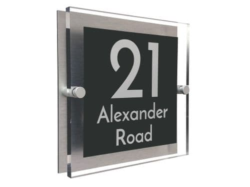 Block Shape - Clear Acrylic House Sign - Anthracite Colour with White text in Font  3