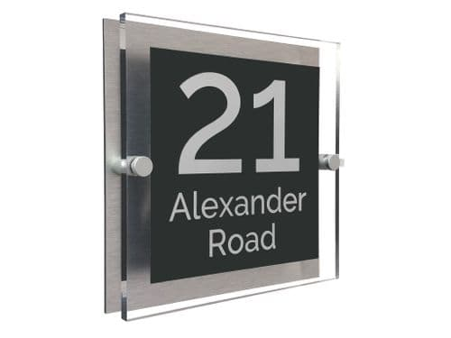 Block Shape - Clear Acrylic House Sign - Anthracite Colour with White text in Font  4