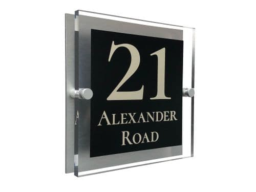 Block Shape - Clear Acrylic House Sign - Black Colour with Double Cream text in Font  2