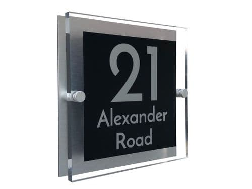 Block Shape - Clear Acrylic House Sign - Black Colour with Silver text in Font  3