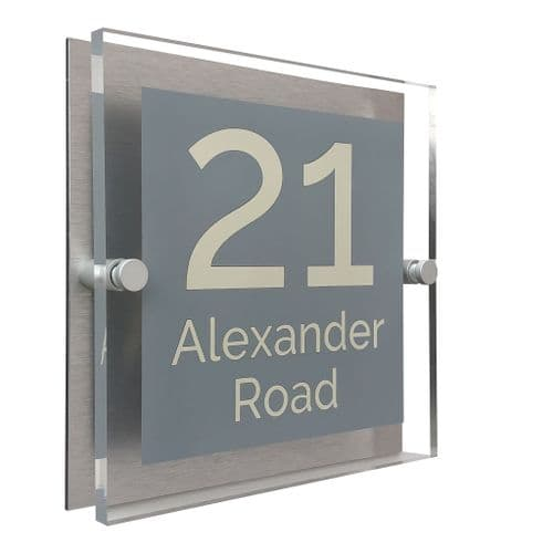 Block Shape - Clear Acrylic House Sign - Mid Grey Colour with Double Cream text in Font  4