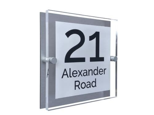 Block Shape - Clear Acrylic House Sign - White Colour with Black text in Font  4