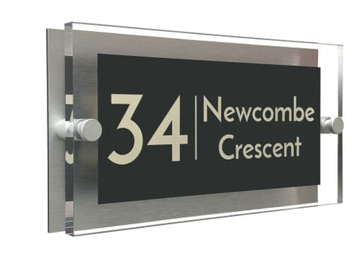 Rectangle Shape - Clear Acrylic House Sign - Anthracite Colour with Double Cream text in Font  3