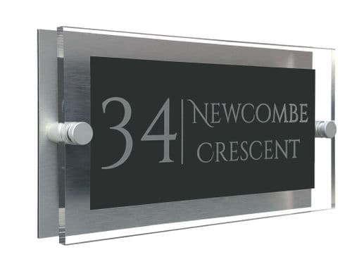 Rectangle Shape - Clear Acrylic House Sign - Anthracite Colour with Silver text in Font  1