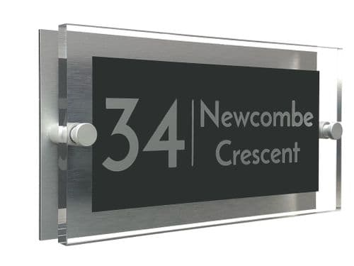 Rectangle Shape - Clear Acrylic House Sign - Anthracite Colour with Silver text in Font  3