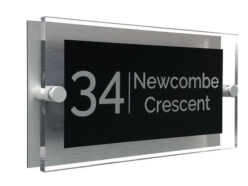Rectangle Shape - Clear Acrylic House Sign - Black Colour with Silver text in Font  4