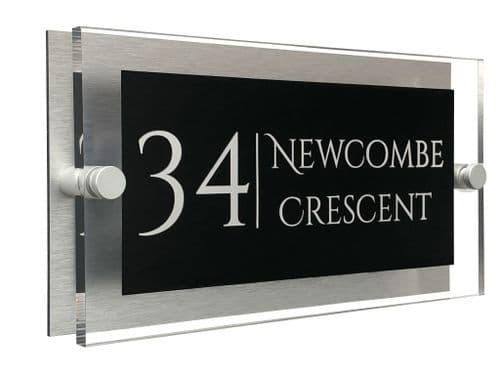 Rectangle Shape - Clear Acrylic House Sign - Black Colour with White text in Font  1