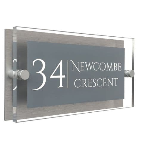Rectangle Shape - Clear Acrylic House Sign - Mid Grey Colour with White text in Font  1