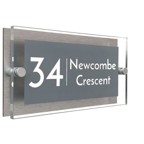 Rectangle Shape - Clear Acrylic House Sign - Mid Grey Colour with White text in Font  3