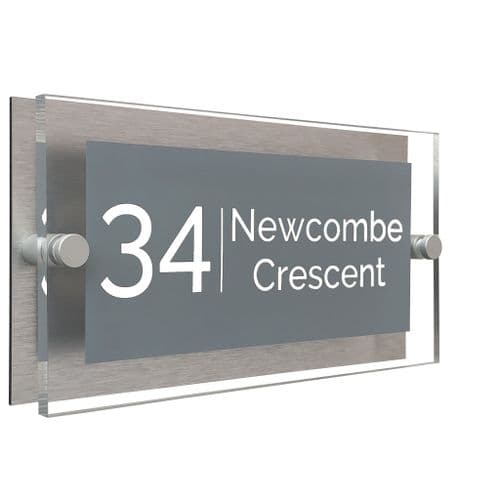 Rectangle Shape - Clear Acrylic House Sign - Mid Grey Colour with White text in Font  4