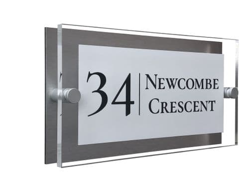 Rectangle Shape - Clear Acrylic House Sign - White Colour with Black text in Font  2