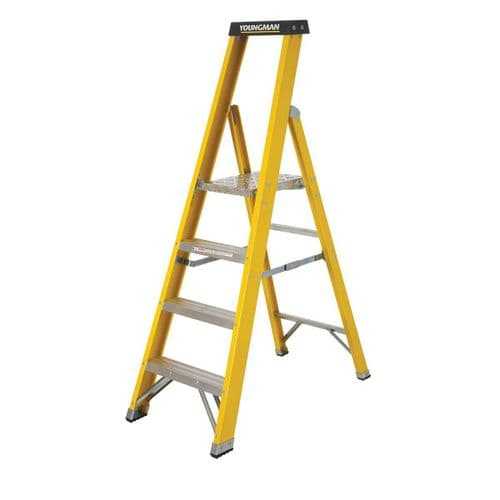 Youngman 52745418 S400 Fibreglass Trade Platform Stepladder 4 Tread