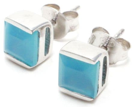 Blue Chalcedony Gemstone Stud Earrings in Sterling Silver (Square)