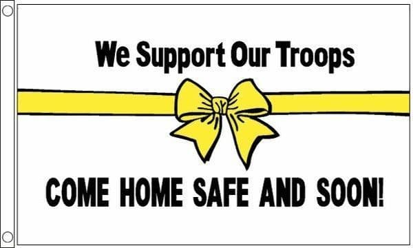 We Support Our Troops (white) Flag
