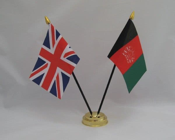 Afghanistan with UK Friendship Table Flag