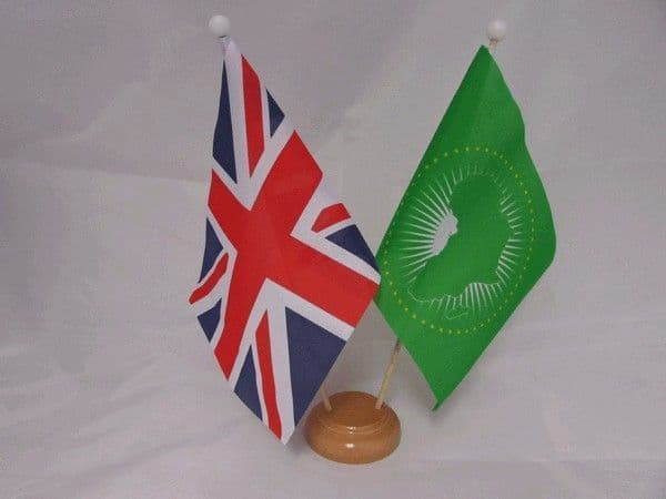 African Union Friendship Wooden Table Flag