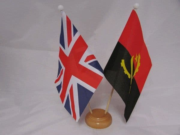 Angola Friendship Wooden Table Flag