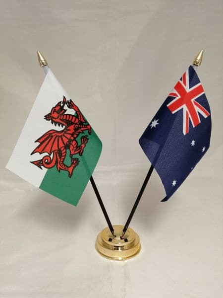 Australia with Wales Friendship Table Flag