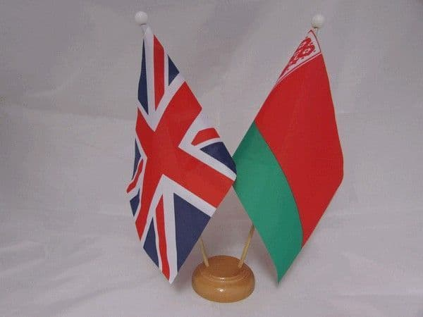 Belarus Friendship Wooden Table Flag