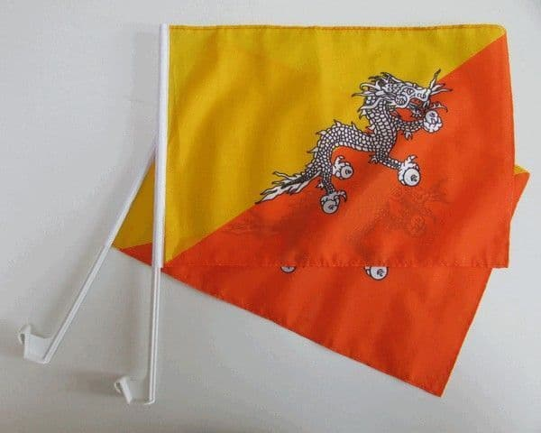 Bhutan Car Flag - 2 Pack