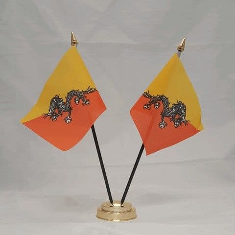 Bhutan Double Table Flag