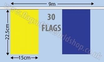 Blue and Yellow Alternating Bunting (9m)