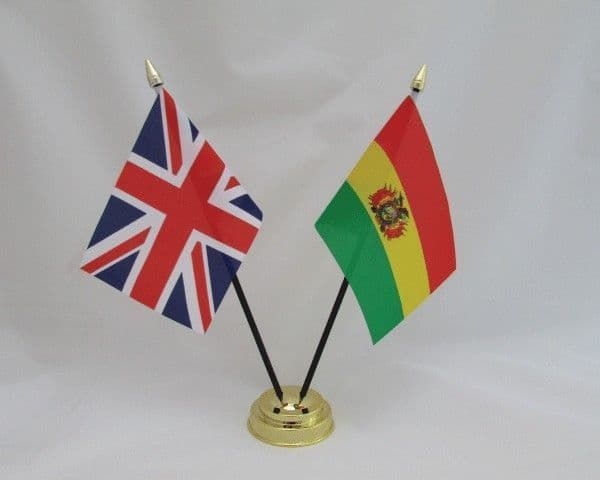 Bolivia with UK Friendship Table Flag