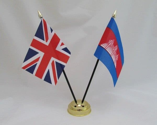 Cambodia with UK Friendship Table Flag