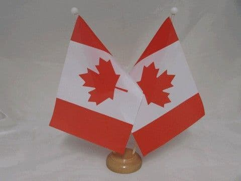 Canada Double Wooden Table Flag
