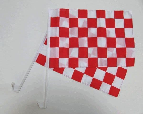 Checkered Car Flag Red and White - 2 Pack