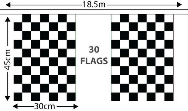 Checkered GIANT Bunting Black and White (18.25m)