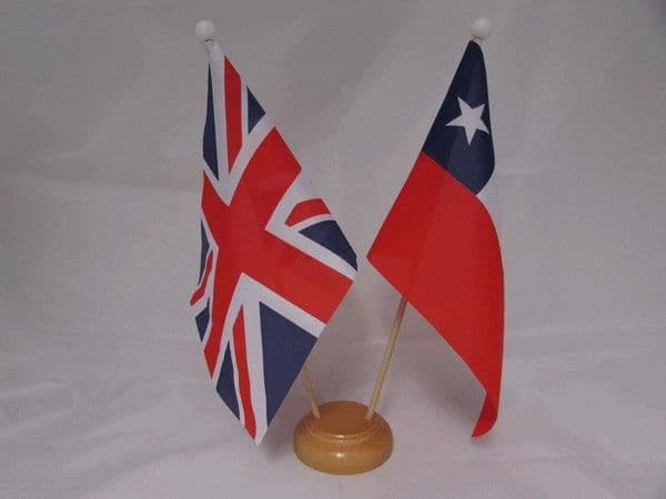 Chile Friendship Wooden Table Flag