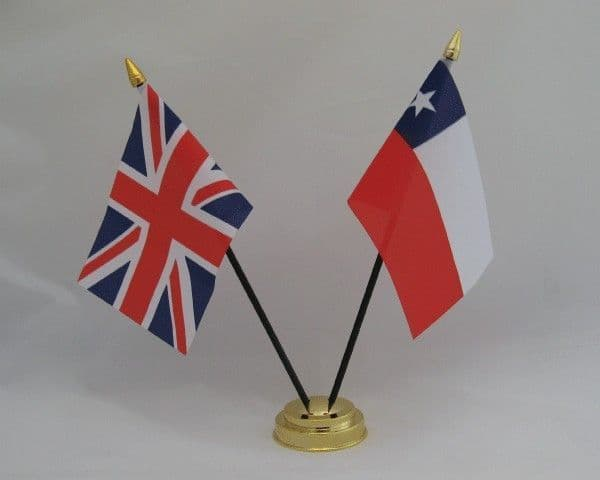 Chile with UK Friendship Table Flag