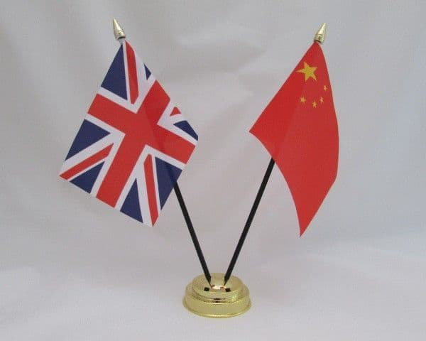 China with UK Friendship Table Flag
