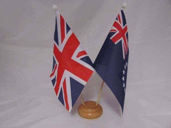 Cook Islands Friendship Wooden Table Flag