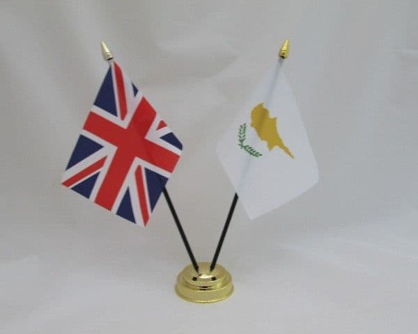 Cyprus with UK Friendship Table Flag