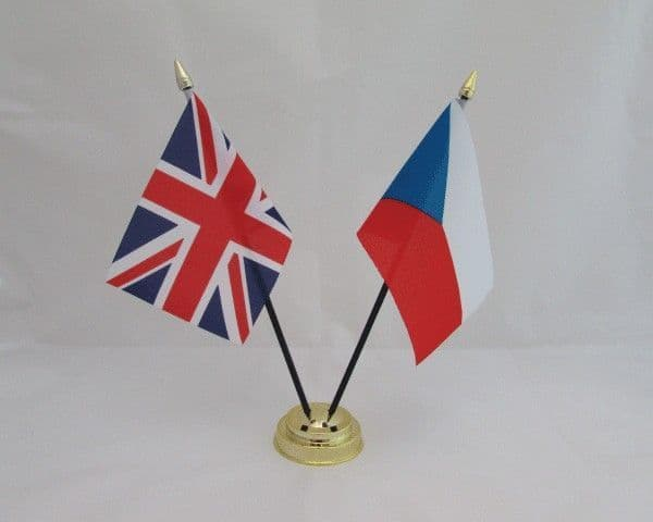 Czech Republic with UK Friendship Table Flag