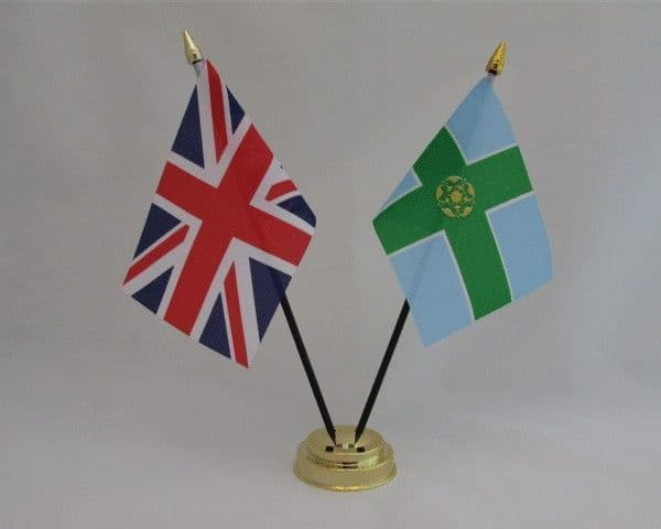 Derbyshire with UK Friendship Table Flag