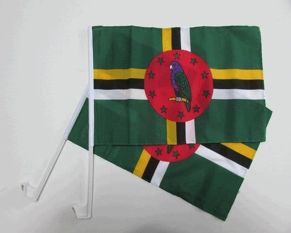 Dominica Car Flag - 2 Pack